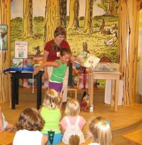 Reading Little Skink's Tail at Barnes & Noble, the girl in bunny tail is Janet's Great Niece